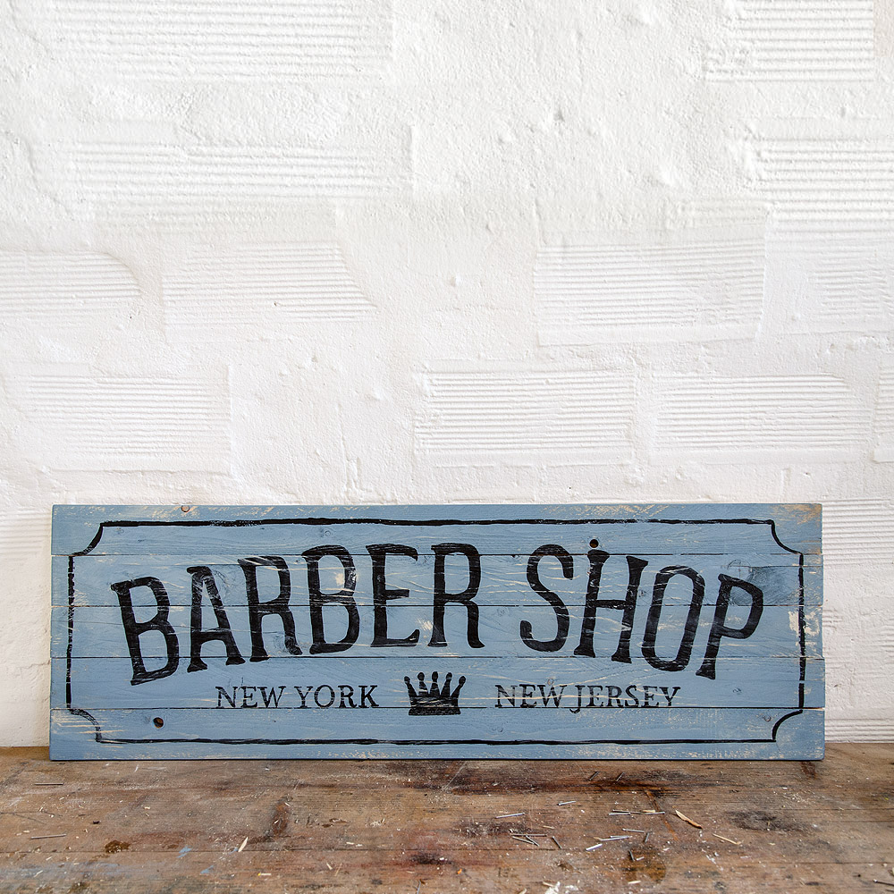 Barber shop wood signs insegna barbiere in legno for Arredamento barbiere vintage