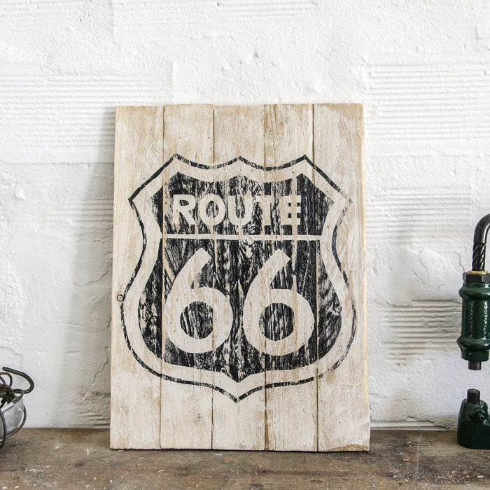 Route vintage wood sign insegna in legno
