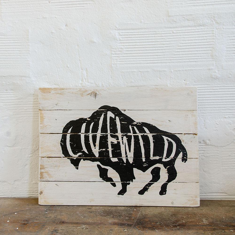 Livewild wood sign