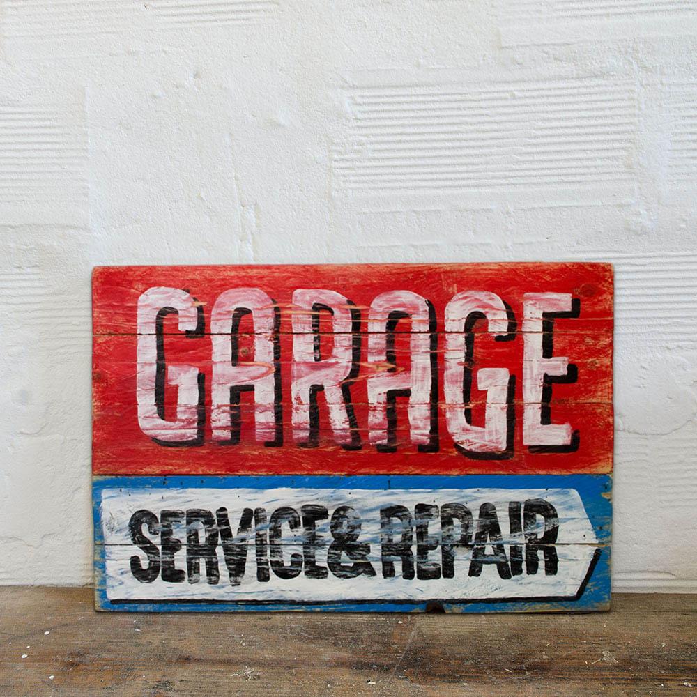 Garage service repair wood sign