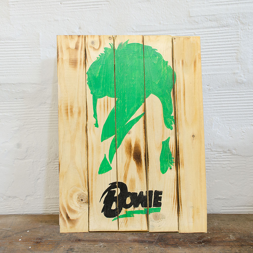 David bowie wood sign