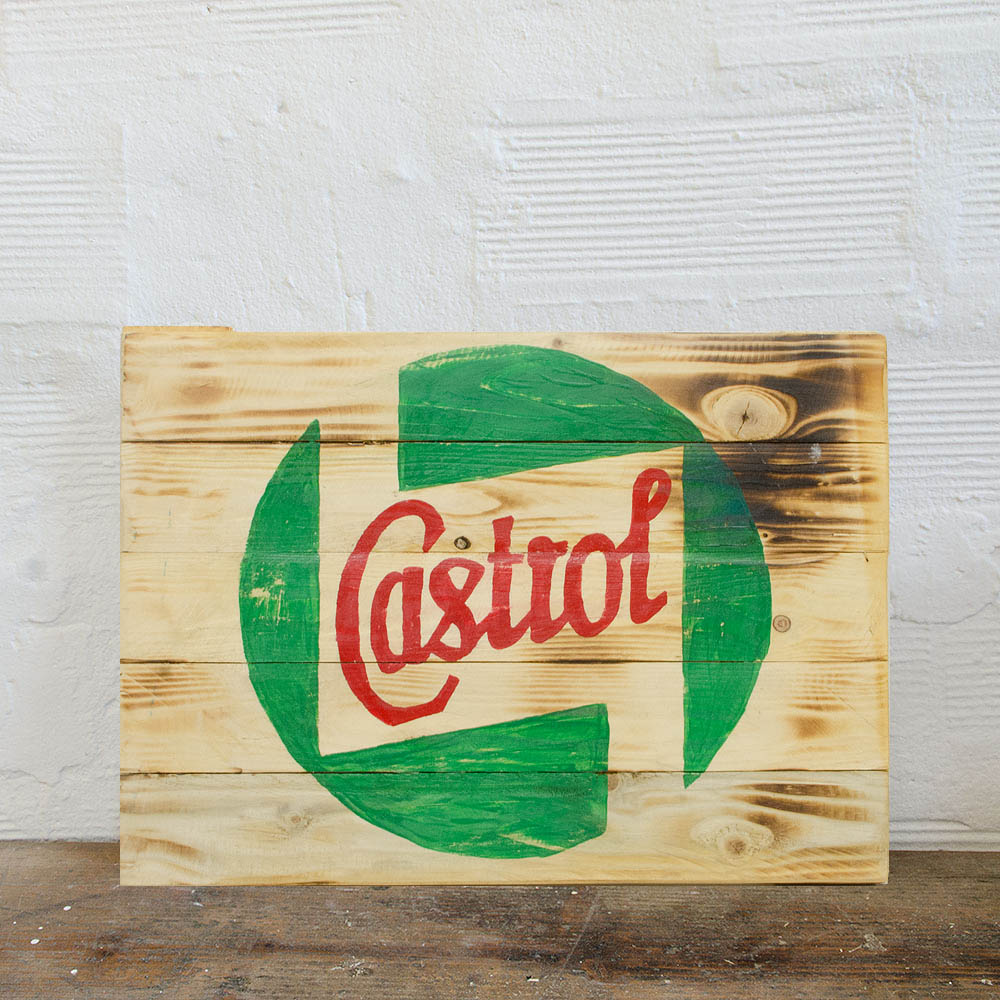 Castrol Wood Sign