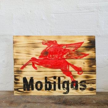 Mobilgas Wood Sign