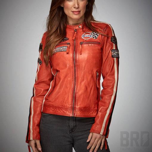 Giacca Pelle Donna Lady Daytona Orange