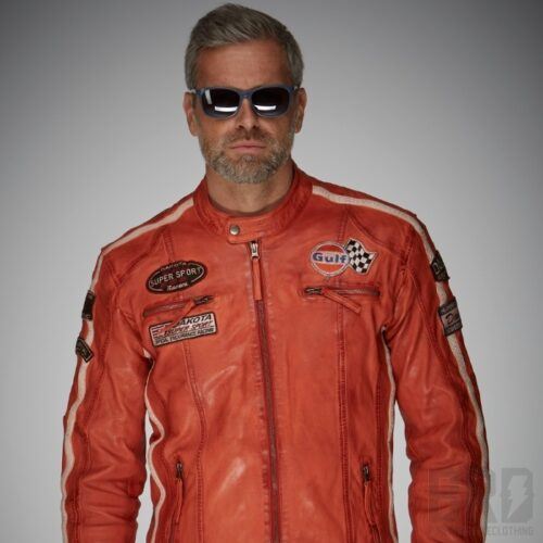 Giacca Pelle Uomo GULF Racing Jacket Orange