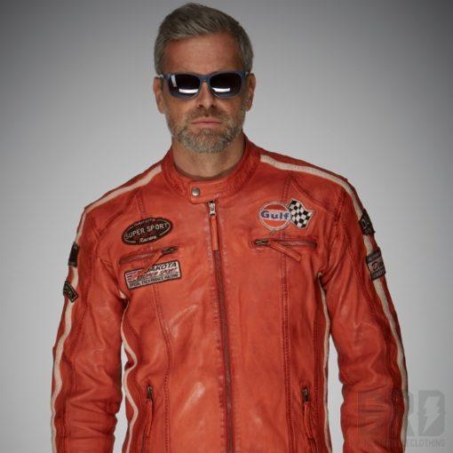 Giacca Pelle Uomo GULF Racing Jacket Orange