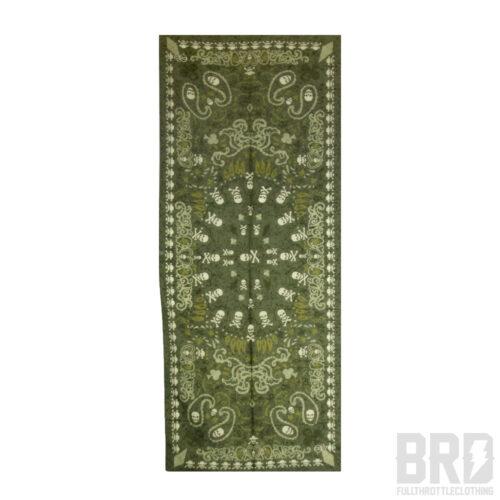 Sciarpa Seta Cotone Teschi Verde