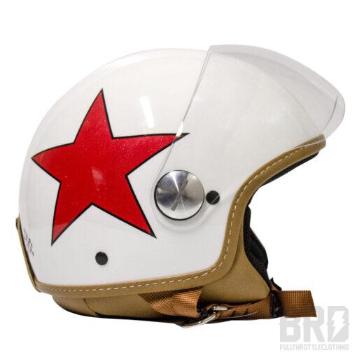 Casco Demijet Star Bianco Rosso